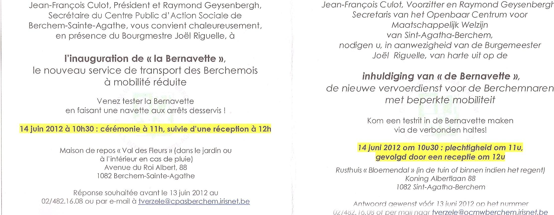 Invitation à l'inauguration de la Bernavette